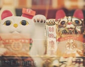 Chinatown photo, San Francisco, lucky cat, chinese asian decor, good luck, fortune, gold white red, happiness, kitties, Chinese New year