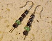 Garnet / Apatite Earrings, Sterling Silver Dangles, Blue & Red, Handmade, One of a Kind!