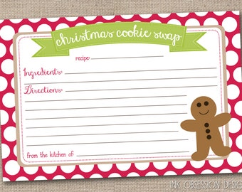 Printable Christmas Cookie Exchange Recipe Card Holiday Cookie Swap INSTANT DOWNLOAD