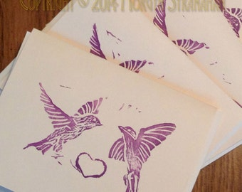 Purple Martins card, set of four (hand printed)