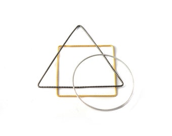 Square, Triangle and Round Geometric Bracelets Set of three