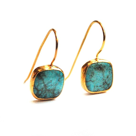 Turquoise Small Square Earrings With Silver Settings Coated with Gold