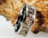 Deer Antler Ring in Titanium Band, Hunters Wedding Band, Ring Armor Included