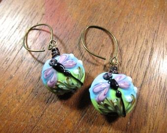 DRAGONFLY Lampwork Earrings: Murano Glass