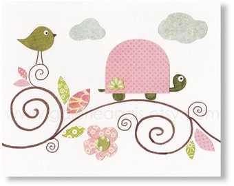 Baby Girl Nursery Decor Nursery wall art Bird nursery art turtle nursery kids wall art pink green baby nursery - Les Oiseaux