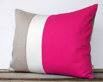 16x20 Color Block Pillow in Hot Pink, Cream and Natural Linen by JillianReneDecor - Minimal Home Decor - Striped Trio - Custom