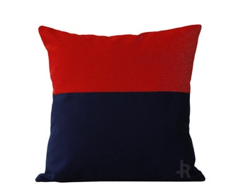 OUTDOOR Colorblock Pillow Cover - Red and Navy by JillianReneDecor Modern Home Decor - Two Tone - Summer Patio Decor - Nautical