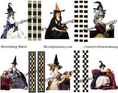 Bewitching Maries Digital Collage Sheet Marie Antoinette Halloween Witch Hat Mask ATC ACEO