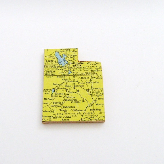 Utah Brooch - Lapel Pin / Upcycled 1940s Straus Wood Puzzle Map Piece / Unique Wearable History Gift Idea / Timeless Gift Under 25