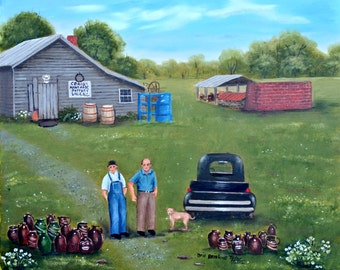 Country Scene Picking Blackberries Cow Fence Basset By