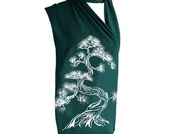 Japanese Pine Tree, Forest Green Screen Printed Jersey Scarf, Sumi-e, Back To School, Fall, Winter