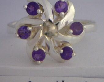 Purple Amethyst Handmade Sterling Silver Ladies Pinwheel Ring size 8
