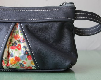 Leather Clutch- Zipped Wristlet Pouch- Handmade leather wallet- leather purses- navy blue leather wristlet- vintage floral cotton