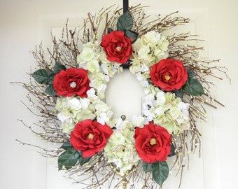 Red Rose Wreath with White Hydrangeas for Front Door
