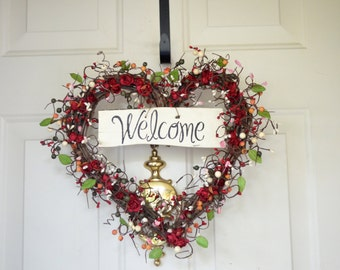 Welcome Heart wreath - red parchment roses - Holiday front door - year round wreath - Christmas gift - hostess gift