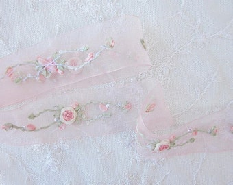 Hand Embroidered PEACH Organza Sequin Flower Ribbon Trim Antique Vintage Baby Doll Christening Gown