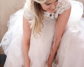Final Payment - Reserved for Leslie - Blush Pink Wedding Dress with Separate Skirt and Top- Custom Order in Any Color