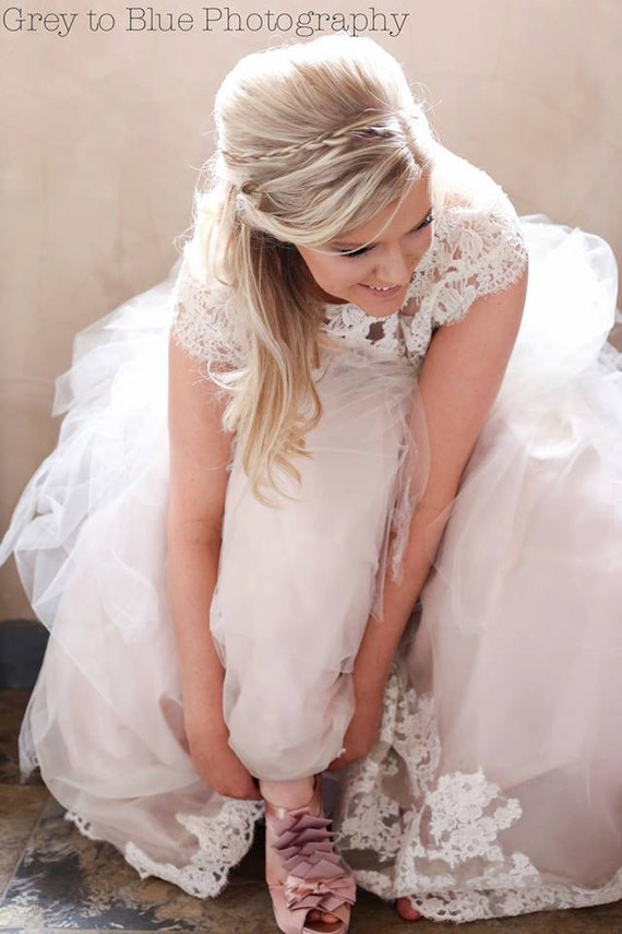 Blush Pink Wedding Dress with Separate Skirt and Top- Custom Order in Any Color