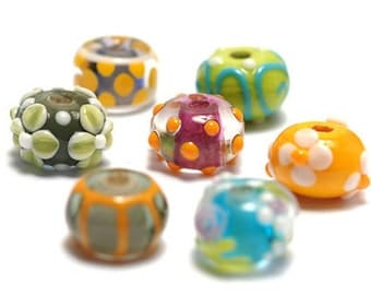 Handmade Glass Lampwork Bead Set - Seven Colorful Rondelle Beads 11001001