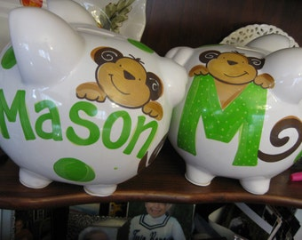 piggy bank hand painted personalized initial monkey