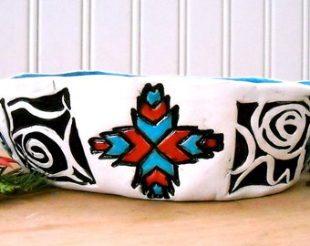 Totally Tribal Bowl - HandMade Turquoise, Black, White, Red Geometric Graphic Design Rustic Stamped Ceramic Serving Soup, Salad, Cereal Dish