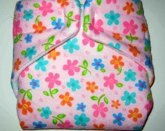Baby Doll Cloth Diaper/Wipe-Beautiful Flowers-Fits Bitty Baby,Baby Alive, Cabbage Patch, American Girl Dolls and More