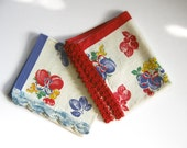 Pair 50's Fruit Strawberries Grapes Cherries Primary Colors Cottom Kitchen Tea Hand Dish Towel Red, Or Blue Back Thennish Vintage