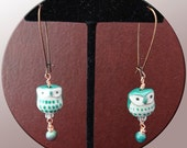 Owl Earrings Teal Ceramic and Glass Beads Long Ear Wire Copper FREE SHIPPING 92114003