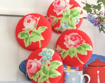 Handmade Country Rustic Large Red Pink Rose Flower Floral Fabric Covered Buttons, Retro Red Flower Fridge Magnets, 1.25 Inches 4's