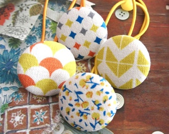 Button Ponytail Holders, 4 Large Blue Yellow Geometric Modern Hair Ponytail Holders Ties, Girl Women Hair Accessories, Back to school
