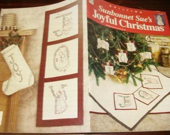 Embroidery Pattern Leaflet Sunbonnet Sue's Joyful Christmas House of White Birches 141196