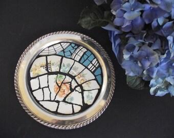 Broken China Mosaic Tray - Vintage Silver Tray Mosaic - Aqua Silver and Orange