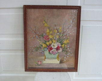 Vintage Floral Print Art Flowers Yellow
