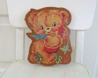Vintage Rack Hooks Teddy Bear Decal Wall Plaque Wood Child Nursery Decor Girl Baby