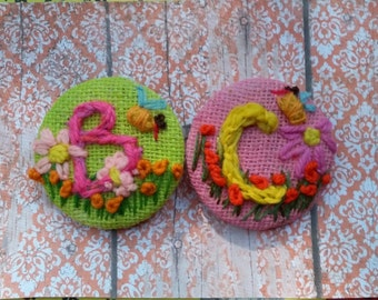 One Freehand Embroidered Brooch or Hair Clippie ANY LETTER and MOTIF