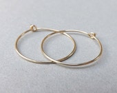 Gold Hoop earrings 14k solid gold hoops eco friendly Simple Medium Hoops minimalist jewelry, Womens Gift, choose your size Gift for Her