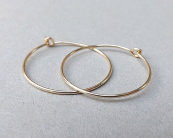 Gold Hoop earrings 14k solid gold hoops eco friendly Simple Medium Hoops minimal jewelry, Womens Gift, choose your size Gift for Her