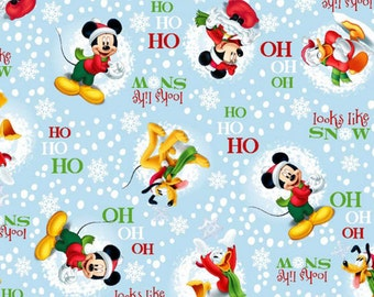 Mickey Mouse Winter Holiday Cotton Fabric By The Yard
