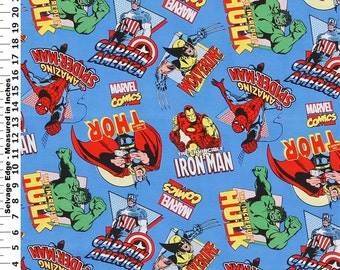 Marvel Comic Super Hero On Blue Fabric By The Yard