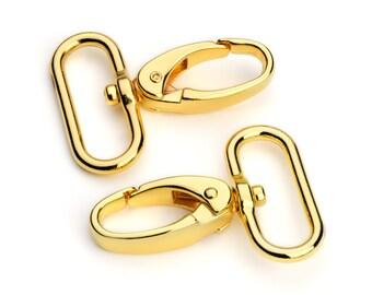 """10pcs - 1 1/4"""" Wide Push Gate Snap Hook - Gold - Free Shipping (METAL HOOK MHK-154-Gold)"""