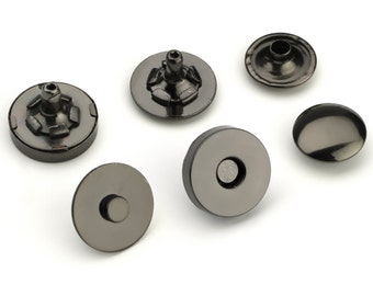 30pcs Double Rivet Magnetic Purse Snaps 14mm - Black Nickel - Free Shipping (MAGNET SNAP MAG-212)
