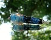Handmade Glass Blue Swirling Teardrop Pendant