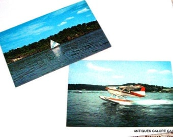 Set of 2 Lake of the Ozark Vintage Postcards, Water, Seaplane, Sailboat, Scenic, Missouri  (227-14)