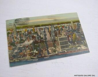 Vintage Postcard, Mid Town Manhattan Skyline, Aerial View, 1950's  (420-14)
