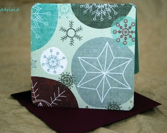 Blank Mini Holiday Card Set of 10, Snowflake Design with Contrasting Pattern on the Inside, Plum Wine Envelopes, mad4plaid