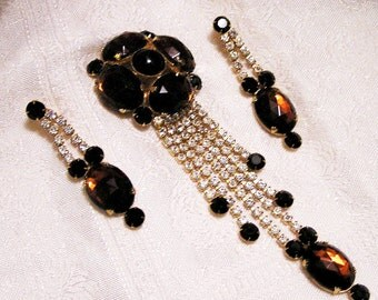 Vintage Alice Caviness Huge 7 Inch Brooch and Earring Set Brown Glass and Rhinestones (J6)