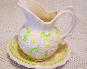 Vintage Enesco Daisy Pitcher and Saucer Set White with Daisies