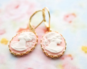 Pastel pink -Cameo earrings