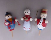 3 Vintage Miniature Wood Holiday Figures Cake Toppers  HCT101