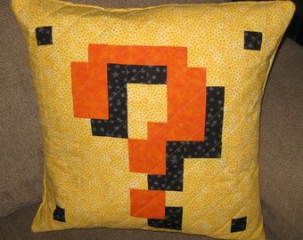 Item Block Quilted Pillow Cover - yellow dots BG - free USA shipping